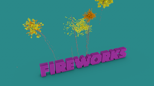 Motiongraphics in Cinema4D with Thinking Particles: Pixel Fireworks